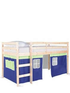 The Boys Bedroom - J's Bed - Kidspace Galaxy Solid Pine Mid Sleeper Mid Sleeper Bed, Solid Pine, Bed Frame, Bunk Beds, Playroom, Tent, Kids Room, Kids Fashion, Bedroom Ideas