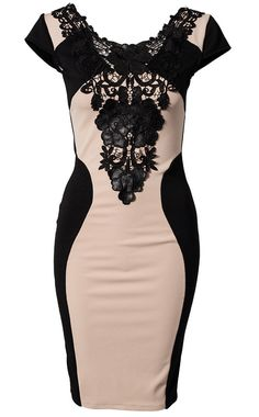 Apricot PU Leather Contrast Lace Embroidery Bodycon Dress US$42.60