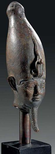 Head of bearded Osiris , late period, 7th-2nd century B.C.