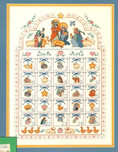 """VINTAGE DIMENSIONS """"BLESSED NATIVITY ADVENT CALENDAR"""" COUNTED CROSS STITCH KIT #Dimensions #AdventCalendar"""