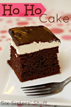 Chocolate Ho Ho Cake from SixSistersStuff.com #hostess #chocolate #dessert