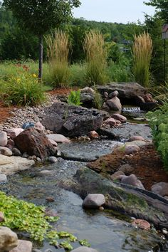 Stream water feature with landscape. #TopekaLandscape