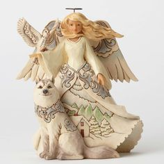 Jim Shore Heartwood Creek White Woodland Angel w/Husky