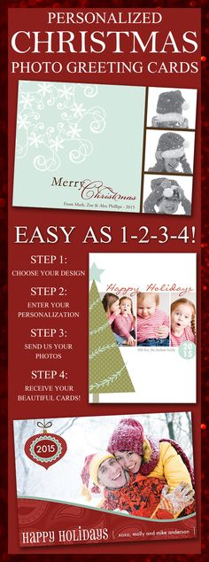 Say Merry Christmas to family and friends this year 5 x 7 Christmas cards personalized with your favorite family picture and a custom printed message. Photo greeting cards are personal Christmas cards uniquely from you. These and other Christmas card designs can be ordered at http://myweddingreceptionideas.com/christmas_photo_design_cards.asp