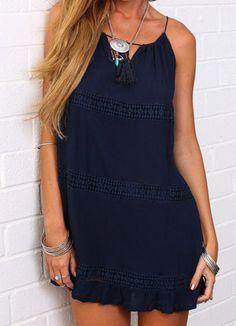 Vestido suelto encaje con tirante-azul marino