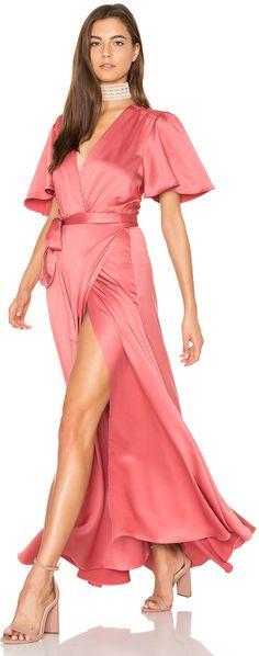 BLUSH TONES: Satin Rose Kimono Dress with a waist tie closure for Valentine's Day