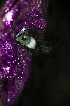 purple glitter face