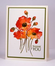 watercolour with distress stains thank you card by Heather Telford