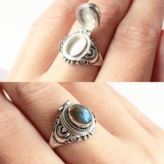 Labradorite poison box ring sterling silver ring with opening locket compartment and gorgeous labradorite gemstone £22 #cheapfrills #jewellery #ring #silver #sterlingsilver #labradorite #gem #gemstone #poisonbox #occult #alternative #rad