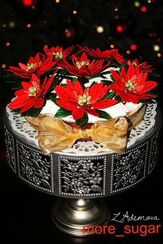 English christmas cake with Poinsettia flowers