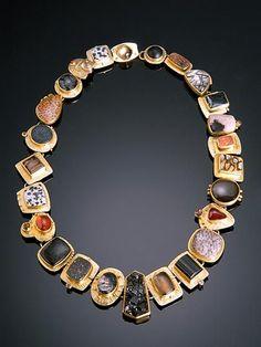 Sydney Lynch, Black Multilink Necklace, 18k, 22k, sterling, melanite, garnets, crystals, fossil palmwood, onyx, diamonds, andalusite, quartz, topaz.