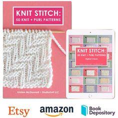Knit Stitch Book: 50 Knit + Purl Patterns by Studio Knit Rib Stitch Knitting, Knitting Help, Cable Knitting, Knitting Charts, Easy Knitting, Knitting For Beginners, Knitting Stitches, Knitting Patterns Free, Stitch Patterns