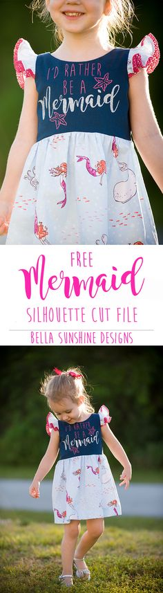 Make your own mermaid inspired dress using heart transfer vinyl with this free download for the Silhouette vinyl cutter - This dress turned out so cute! Must repin for later!!