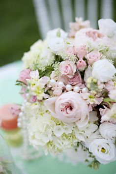 pink wedding flowers with pearls. English Garden Wedding Inspiration