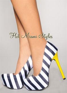 Navy Blue And Yellow Heels | Tsaa Heel