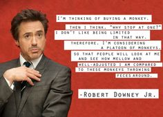 "I'm thinking of buying a monkey. Then I think, ""Why stop at one?"" I don't like being limited in that way. Therefore, I'm considering a platoon of monkeys. So that people will look at me and see how mellow and well-adjusted I am compared to these monkeys throwing feces around.–Robert Downey Jr."