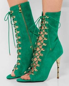 #FSJshoes - #FSJ Shoes Beryl Green Ankle Strappy Boots - AdoreWe.com