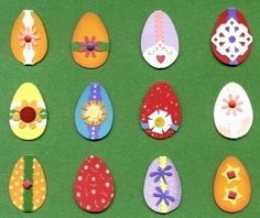 Made a collection of small Easter Eggs. I used card stock, dye cuts, glue, gel ink and stickers.