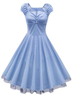 Polka Dot Lace Insert Swing Dress - CLOUDY M