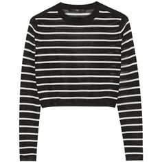 Tibi Cropped striped knitted sweater (2.670 ARS) ❤ liked on Polyvore featuring tops, sweaters, shirts, jumpers, black, jumper shirt, cropped tops, boxy crop tops, cropped sweater and loose fit shirt