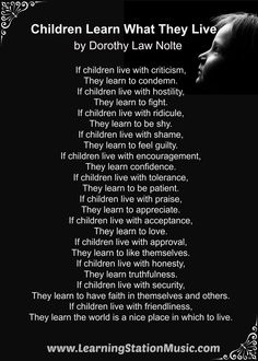 Children Learn What They Live by Dorothy Law Nolte: A parent educator, family counselor and pioneer in the field of positive child development. She was also a writer know for this inspirational poem that was first published in 1954. #parenting #quotes #poems