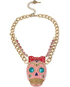 CRITTER STATEMENT PINK SUGAR SKULL NECKLACE PINK accessories jewelry necklaces fashion