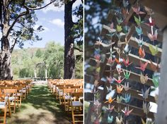Colorful paper cranes as a backdrop to your ceremony site? Yes please!