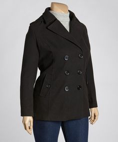 Take a look at this Black Luxe Peacoat - Plus by INTL d.e.t.a.i.l.s. on #zulily today!