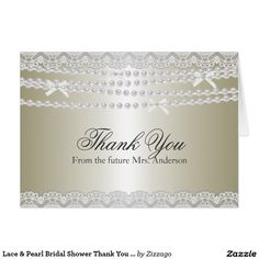Lace & Pearl Bridal Shower Thank You Card