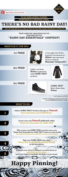 """There is no bad rainy day! - Take part in our """"RAINY DAY ESSENTIALS"""" Contest!  Submit your entry here: www.rainydays.gore-tex.eu"""