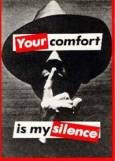 """Your comfort is my Silence, 1981 // by Barbara Kruger. Conceptual artist and collagist. Known for her black/white/red propaganda posters, as well as her use of """"We"""" """"You"""" """"I"""" etc, to create a stronger message. Protest Kunst, Protest Art, Protest Signs, Jenny Holzer, Barbara Kruger Art, Nova Jersey, Art Conceptual, Pop Art, My Silence"""
