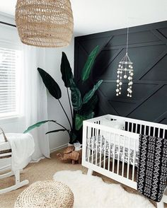 Black and White Nursery with Accent Wall - 14 Nursery Trends and Children's Design Ideas to Watch for 2020 - Project Nursery Baby Nursery Decor, Project Nursery, Nursery Neutral, Nursery Room, Accent Wall Nursery, Nursery Ideas, Dark Nursery, Room Ideas, Boho Nursery