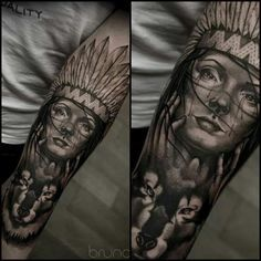 Indian girl with wolf done by Bruno Santos. Follow him on instagram @brunosantostattoo
