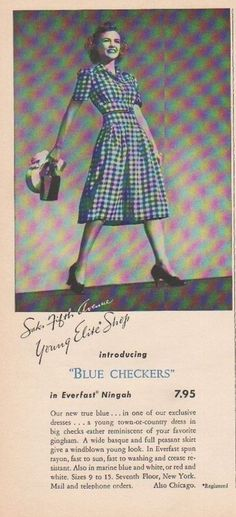 1939 Blue Checkers Dress Saks Fifth Ave New York Vintage Womens Fashion Ad in | eBay