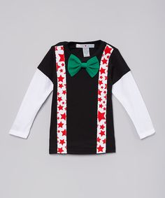 Love this Black Holiday Suspenders Layered Tee - Infant, Toddler & Boys by mini scraps on #zulily! #zulilyfinds
