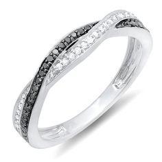0.25 Carat (ctw) 10K White Gold Round Black & White Diamond Anniversary Wedding Band Swirl Matching Ring 1/4 CT (Size 5)by DazzlingRock Collection