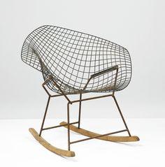 —Harry Bertoia PROTOTYPE ROCKER steel, enameled metal and woodcirca1950s