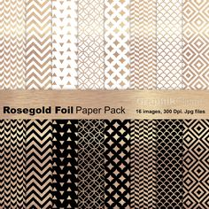 Rose Gold Foil Paper Pack by GraphikCliparts on @creativemarket
