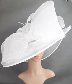 24479912396 True White Sinamay and Silk Wide Brim Kentucky Derby Hat Tea Party Hats