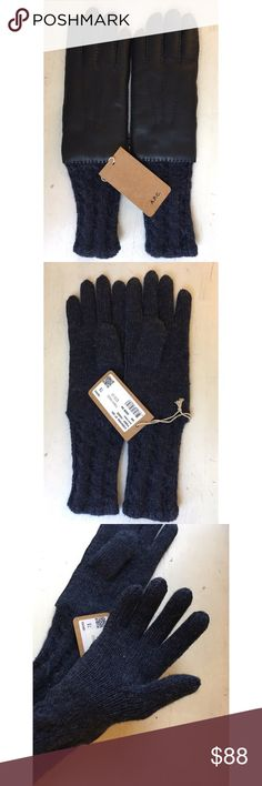 APC Leather / Wool Gloves Buttery soft deer leather and alpaca wool knit gloves in navy blue colorway. Size 7.5 is considered size M/L for women. I think it leans toward medium. A.P.C. Accessories Gloves & Mittens