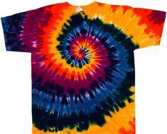 Dark rainbow spiral youth sized tie dye shirt.