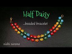 Mar 2020 - ⚜️ Half Daisy, Beaded Bracelet Seed Bead Jewelry Tutorials, Seed Bead Bracelets Tutorials, Seed Bead Crafts, Beaded Bracelets Tutorial, Necklace Tutorial, Seed Bead Projects, Beading Tutorials, Bracelet Designs, Armband Diy