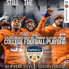 #Repost @clemsonfb @bhopper1229  We were No. 1 when the first @CFBPlayoff was released.  And were No. 1 now.  See you in Miami. #ALLIN
