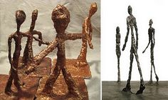 Giacometti sculptures!  cardboard base, garden wire, tin foil, plaster gauze, and metallic paint. Awesome!