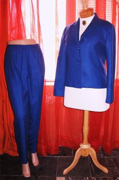 PENDLETON SUIT Jacket With Pants Blue Wool Lined Size 10/6 Mage in El Salvador #Pendelton #PantSuit