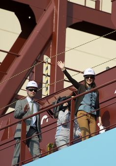 Crown Prince Frederik and Crown Princess Mary on board a Maersk Line vessel at the steel cutting ceremony for the Triple-E vessels. http://i2.jimg.dk/2012/5/14/8/03rcqy0h.jpg