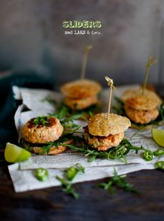 Salmon sliders with lime