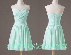 Pretty strapless mint dress