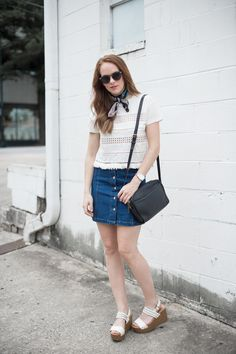 Denim skirt and platforms | Simple summer fashion and style | Outfit inspiration and ideas