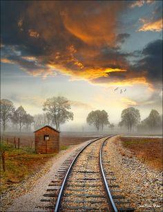 Sunset Tracks, Alsace, France